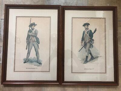Vintage Raymond DESVARREUX-LARPENTEUR Revolutionary War Prints Framed Wall Art