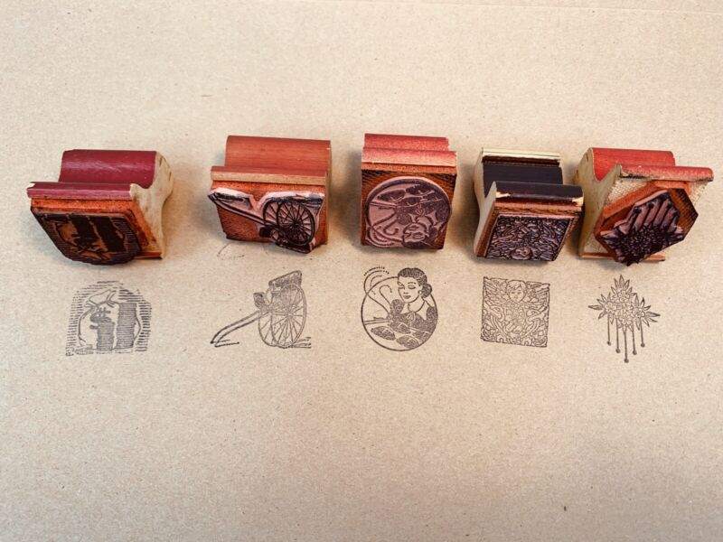 Vintage Lot Of 5 Novelty Decorative Office Rubber Stamps Wood Plastic