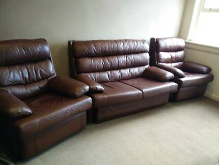 Brown Leather Lounge Suite with Recliners Woollahra Eastern Suburbs Preview