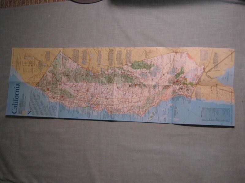 COASTAL CALIFORNIA MAP National Geographic July 1993 MINT