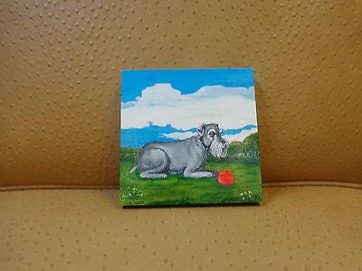 "Orig. Acrylic 6""x6"" SFA acrylic painting ""Schnauzer"" by Karen Vasquez"