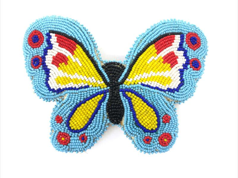 Vintage Beaded Hair Clip Piece Barrette Native American Design Butterfly Artisan