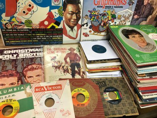 HUGE lot of 60 VINTAGE CHRISTMAS VINYL RECORDS LPs & 45s BING Nat Cole CHIPMUNKS