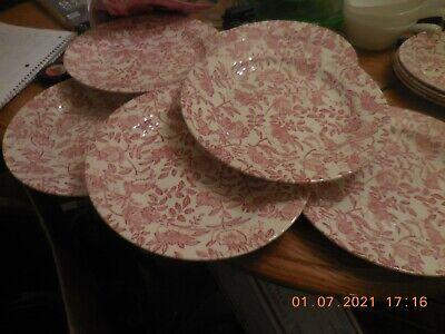 CHURCHILL PINK PEONY FLOWERS SET OF 7 DINNER PLATES 10''