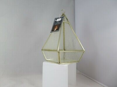 New Karina Bailey Frosted Glass+Gold Metal Pyramid Tealight/Pillar Candle Holder