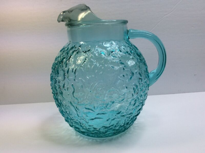 Vintage Anchor Hocking Aqua Blue Lido Milano Crinkle Ball Pitcher w/Ice Lip