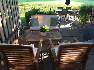 4 pc wooden patio set