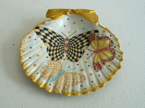 MackenzieChilds Butterfly Garden Decoupage Napkin Shell Ring Trinket Vanity Dish