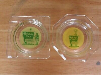 Holiday Inn Hotel~2 Diff. Vintage Glass Ashtray Green & Yellow Painted Text/Logo