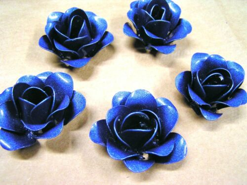 FIVE blue metal roses, flowers for crafts, jewelry, embellishments, accents