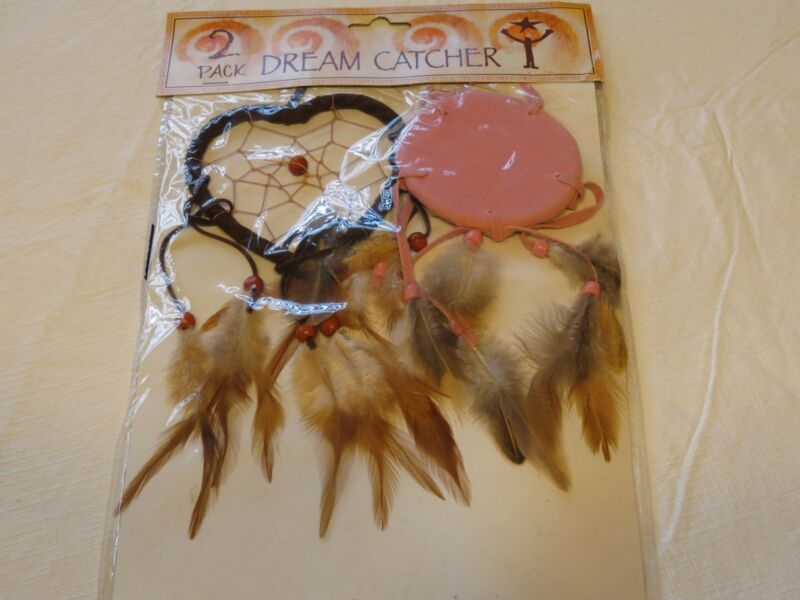 dreamcatcher new in package dream catchers feathers beads set 2 pack heart RARE