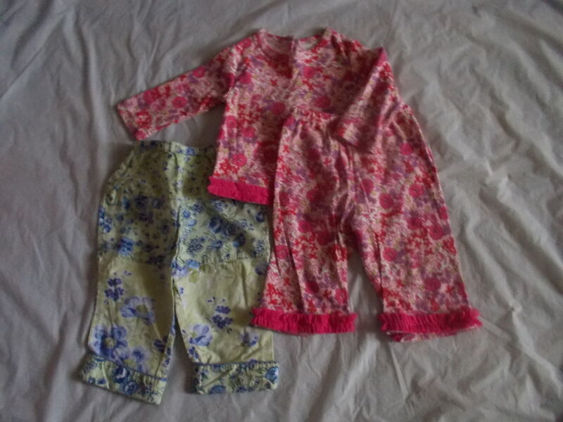 Baby Girl 6 Months 3 Piece Spring Lot Pink Baby Lulu April Cornell Adorable Euc