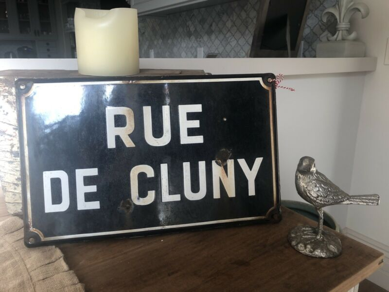 "Vintage FRENCH Enameled Metal STREET SIGN""Rue De Cluny"""