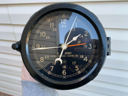 """WWII Chelsea US Army  6"""" dial ships clock"""
