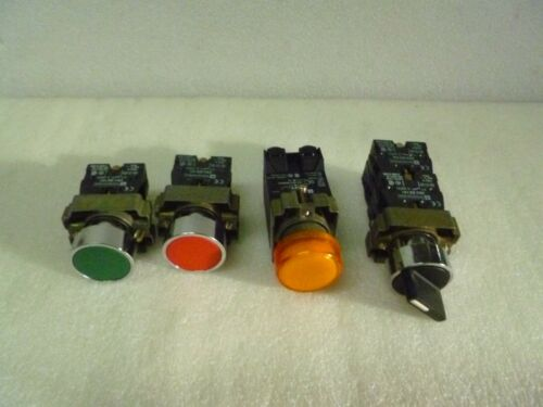 LOT OF 4 MIX TELEMECANIQUE AMBER PUSHBUTTON ZB2-BE101 Z..-BV3