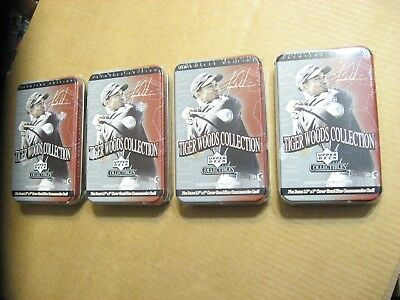 4 Upper Deck - Tiger Woods Collection -Tin Sets of 26 Trading Cards MINT sealed