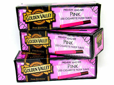3 Golden Valley Pink Edition King Size Cigarette Tubes (box) 200 ea Filter Tubes