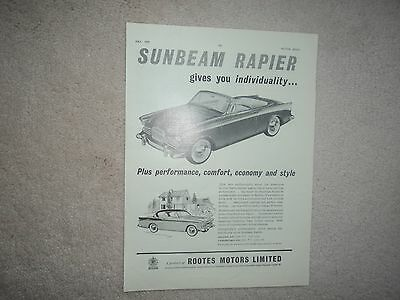 Sunbeam Rapier  -  Advertisement  - 1959