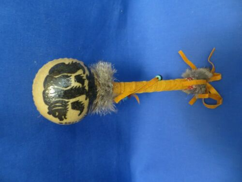 Native American Hand Painted Rawhide Rattle Shaker Fur Leather Beads Black Bear