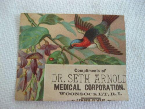 Victorian Trade Card NICE Dr. Seth Arnold Woonsocket RI Fuschia RARE Bird 61