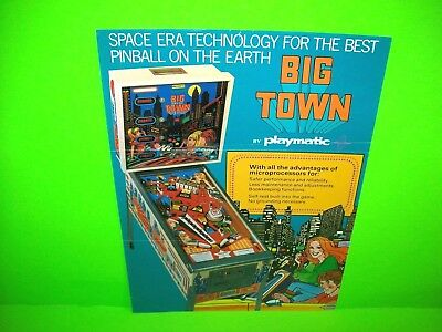 Playmatic BIG TOWN Original 1978 Arcade Game Pinball Machine Flyer RARE Spain