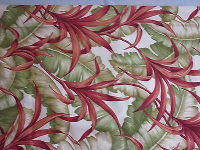 Designer Robert Allen Fabric Dupont Teflon Tropical Leaves Green Rust Beige 1 Yd