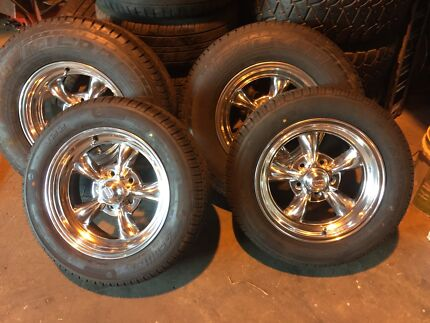 "15"" staggered rat hot rod ford Chev torq thrust wheels 5 120"