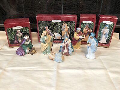Hallmark 6 Piece Set Blessed Nativity Fine Porcelain Ornaments NIB 1998-1999