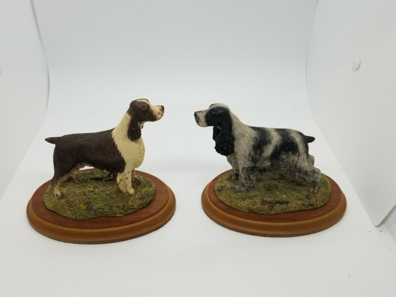 Vintage Lot Of 2 Naturecraft Best Of Breed Spaniel Figurine Hand Painted England