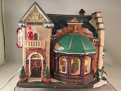 Christmas Village Lighted Victorian House Toy Store Porcelain