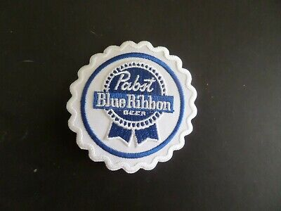 """PABST BLUE RIBBON BEER"""" BLUE & WHITE  Embroidered 3 x 3 Iron On Patch"""