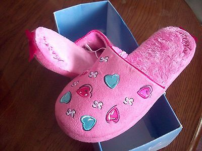 Valentine SLIPPERS Ladies Size 5/6 Pink with Hearts, Flowers NICK & NORA NEW!