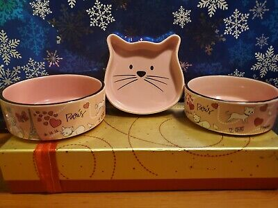Whisker City Cat Saucer Bowl Plate Ceramic Kitty Pink/ Trinket Dish set 3 Ceramic Cat Saucer