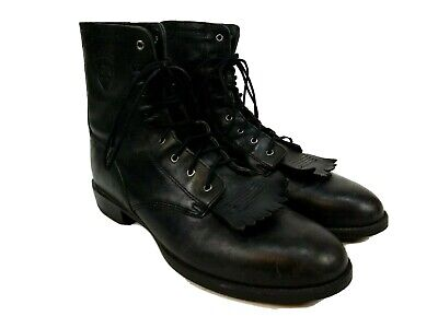 Ariat Mens Western Black Leather Cowboy Boots w/ Kiltie Size 9.5B Style 33501