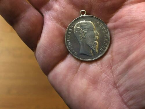 1866 MAXIMILLIAN 50 CENTAVOS KEY DATE SHARP DETAILED SILVER COIN