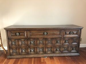 Beautiful antique carved dresser,bronze knobs