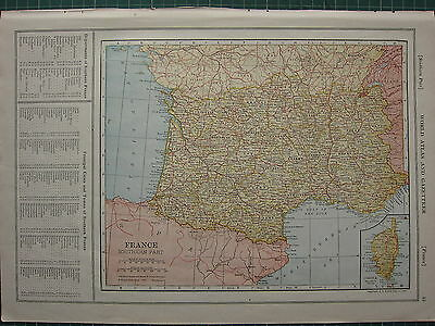 1926 MAP ~ FRANCE SOUTHERN PART PRINCIPAL TOWNS & CITIES LANDES BORDEAU DORDOGNE