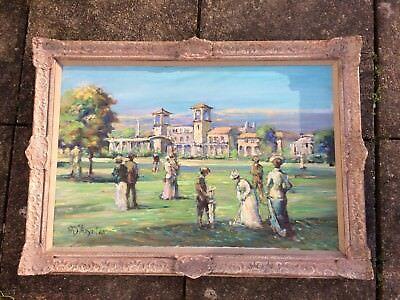 "Michael D ' Aguilar 1924 - 2011 oil on canvas painting titled ""An Club du Golf """