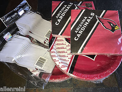 Arizona Cardinals Party Pack, 40 Paper Plates, Napkins & 40 Forks w Team Logo Arizona Cardinals Party Pack