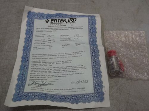 IRD MECHANALYSIS EK-37691 Sensor Accelerometer Model 911S 100MV/G w Certificate