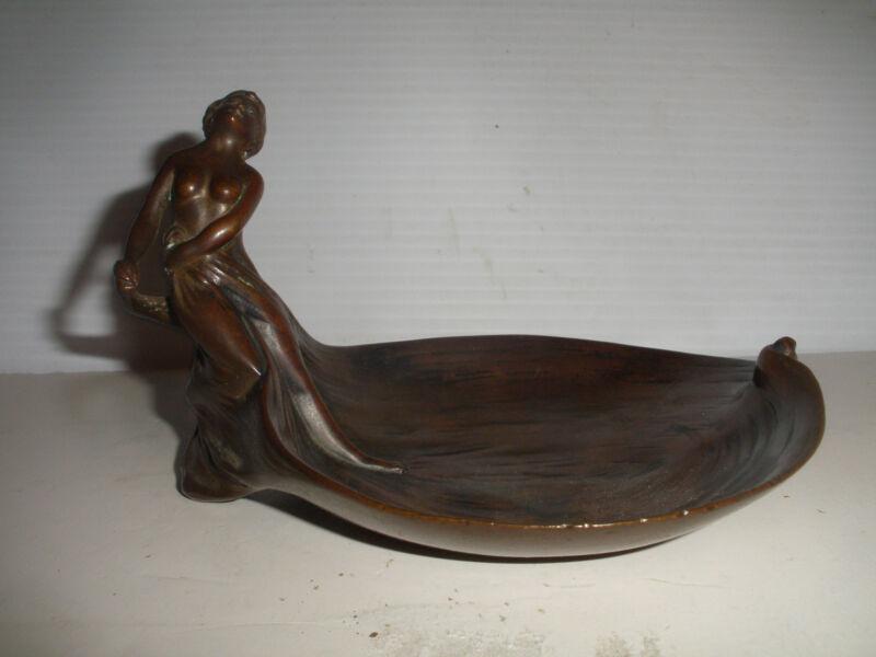 Antique Art Nouveau 19/20thc Bronze Sculpture semi nude woman tray