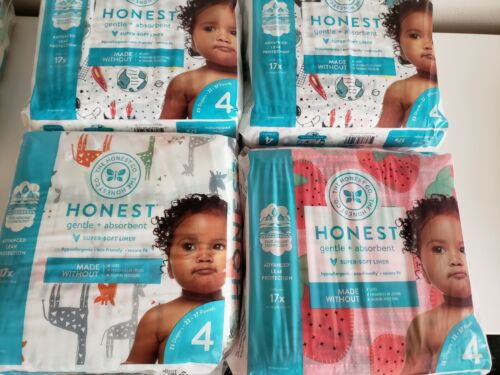 (4-Pack) NEW The Honest Company Gentle Diapers, Size 4, 69 ct,