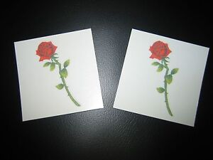 LOT-OF-2-RED-ROSE-LONG-STEM-TEMPORARY-TATTOO-VERY-SEXY-1-3-4-TALL