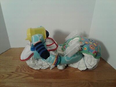 Motorcycle Diaper Cake Boy Centerpiece Baby Shower Gift Blue