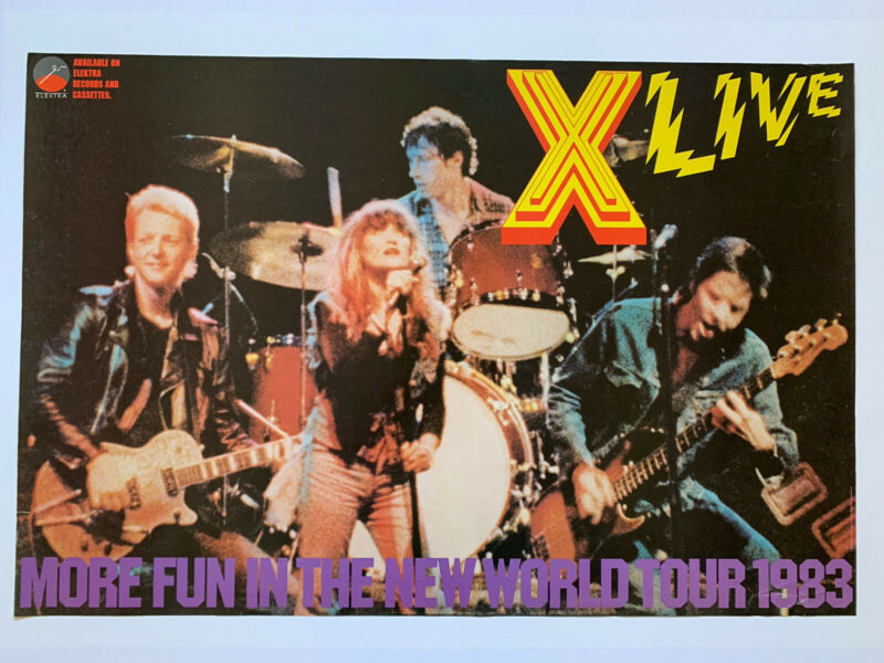 "Original 1983 X More Fun Live World Tour Promo Poster 36"" X 24"" Exene Punk LA"