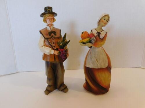 "Pilgrim Couple Composite Figurine Thanksgiving Fall 10"" Set Of 2"