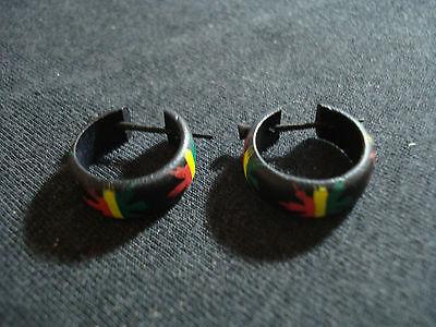 coppia orecchini legno cocco cocchini cerchietto giamaica rasta Marley  etnico usato Chiaiano 76caa47a91e1