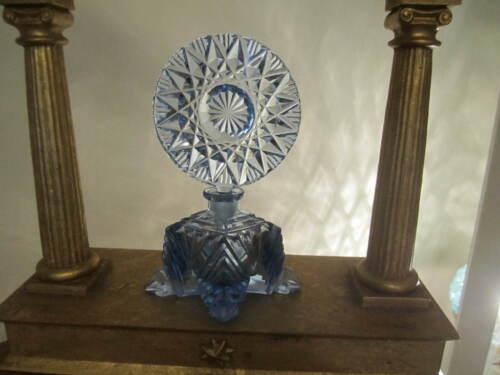 Vintage Irice Cut Glass Perfume Bottle Czech BLUE