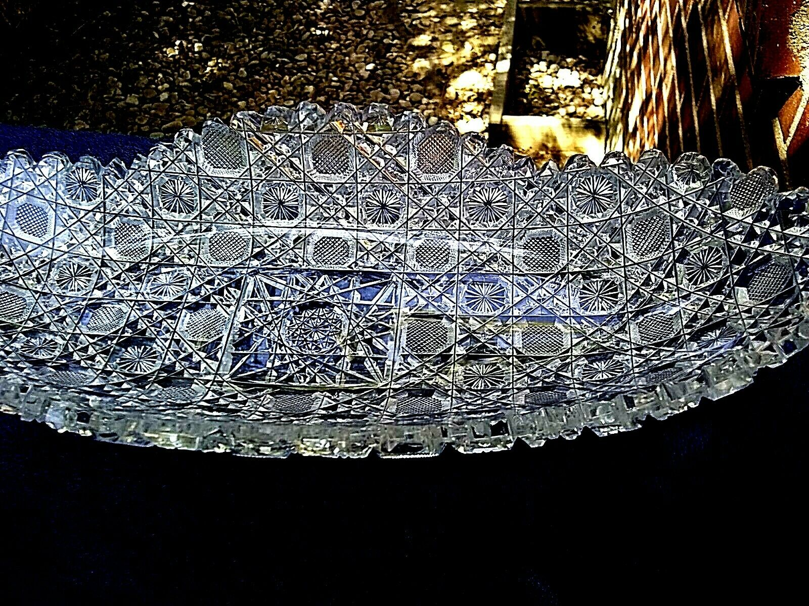 Heavy Cut Glass Daisy Button Celery Or Relish Dish - $35.00