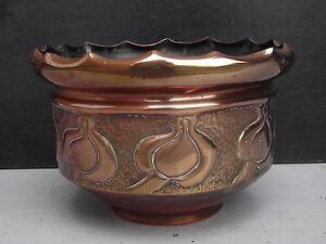 Early 1900s Art Nouveau Copper Jardiniere Planter old vintage garden plant pot